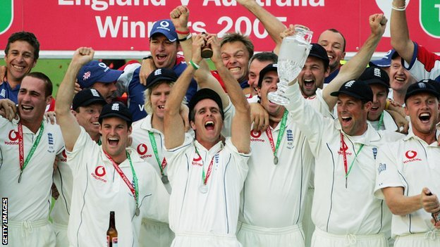 Michael Vaughan lifts the Ashes in 2005