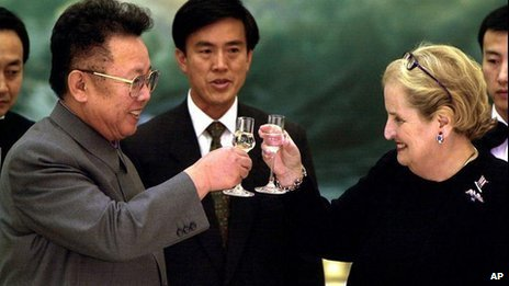 North Korean leader Kim Jong Il, left, toasts U.S. Secretary of State Madeleine Albright at a dinner in Pyongyang on Tuesday October 24, 2000.