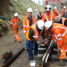 Final piece of track being laid for Bluebell Railway northern extension