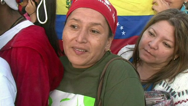 Female supporter of Hugo Chavez in Caracas ahead of his funeral