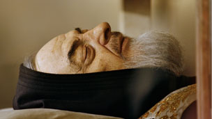 Body of Padre Pio in the crypt of the old Church of St. Mary of Grace at San Giovanni Rotondo in the Apulia region in southern Italy on April 24, 2008