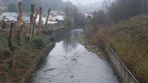 Stretch of the Rhondda Fawr discoloured by sewage