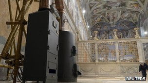 Stoves in the Sistine Chapel. Photo: 8 March 2013