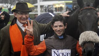 Owner Robert Waley-Cohen (left) and jockey Sam Waley-Cohen with Long Run