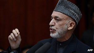 Hamid Karzai addresses parliament. 6 March 2013