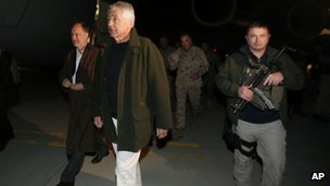 US Defence Secretary Chuck Hagel (second from left) arrives in Kabul, 9 March