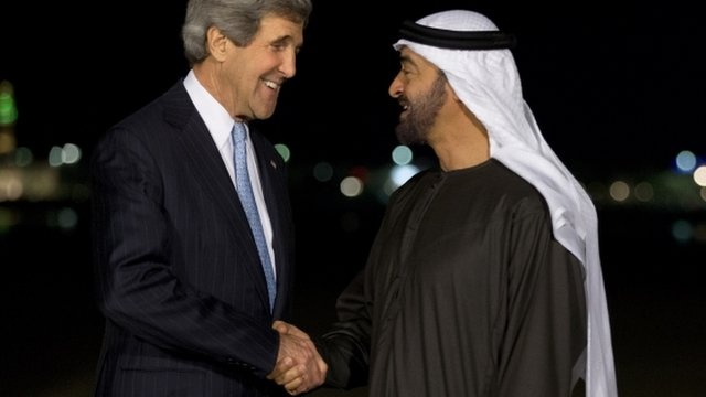 John Kerry, left, and Crown Prince Mohamed bin Zayed shake hands in Abu Dhabi, United Arab Emirates