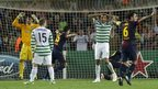 Dismay from the Celtic players as Barcelona&#039;s Jordi Alba scores late in the game
