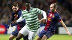 Celtic&#039;s opening goal hero Victor Wanyama (centre) is snared by Barcelona&#039;s Lionel Messi (left) and Andres Inesta
