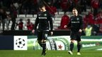 Celtic&#039;s Gary Hooper (left) and Kris Commons walk off the Benfica pitch