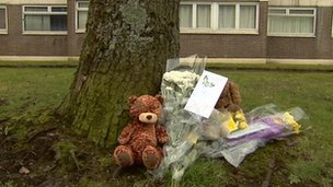 Tributes for Caleb Wallace at the scene of his fall