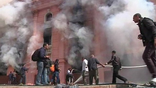 Building ablaze in Cairo