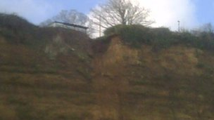 Section of damaged cliff at Shanklin