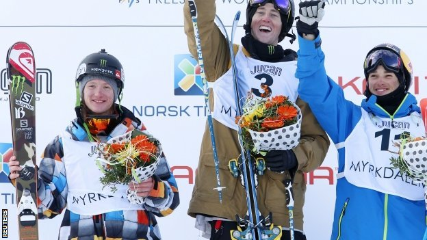 James Woods (left) joins American Thomas Wallisch and Nicholas Goepper on the podium in Norway