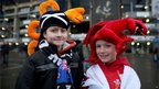 Wales and Scotland fans outside Murrayfield before the RBS Six Nations match.