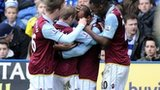 Aston Villa players celebrate