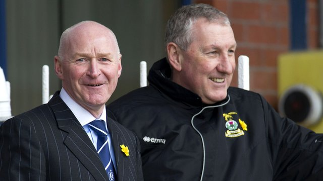 Dundee interim manager John Brown (left) with Motherwell boss Terry Butcher