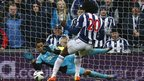 West Bromwich Albion's Romelu Lukaku equalises but then has a penalty saved by Swansea City goalkeeper Michel Vorm