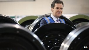 George Osborne visits a train wheel factory in Trafford, Greater Manchester