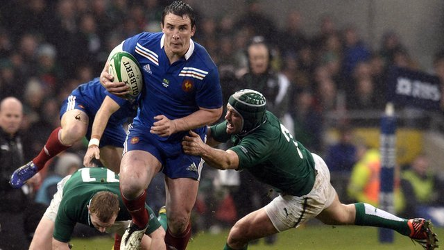 France's Louis Picamoles is tackled by Ireland's Rory Best
