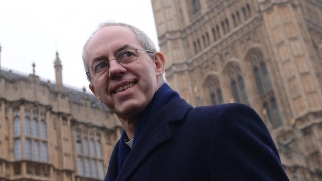 Most Reverend Justin Welby outside the Houses of Parliament