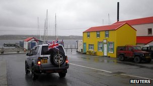 Car with a union flag in Port Stanley