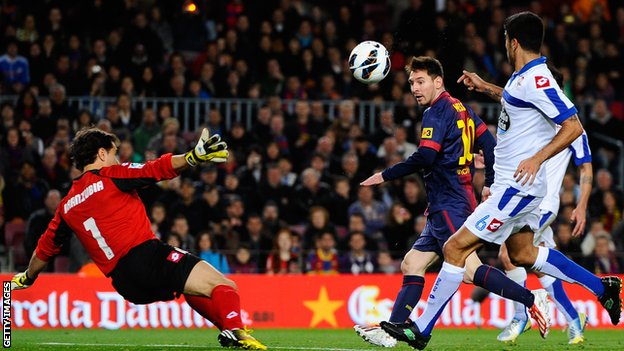 Lionel Messi (centre) scores for Barcelona
