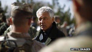 Chuck Hagel, Kabul, 10 March