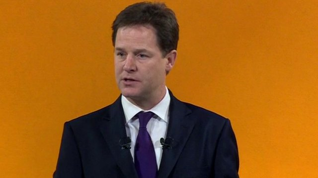 Liberal Democrat party leader Nick Clegg addressing the conference
