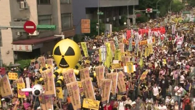 Protests in Taipei over nuclear power