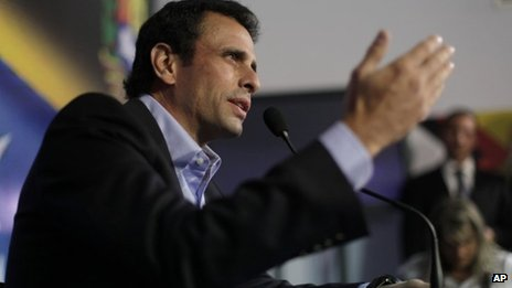Opposition leader Henrique Capriles. 8 March 2013