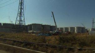 Water tanks storing radioactive water