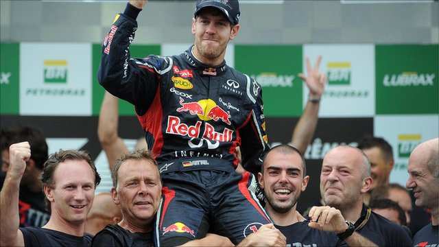 Sebastian Vettel celebrates his third world championship victory