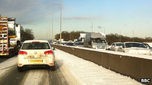Traffic at a standstill on the A8