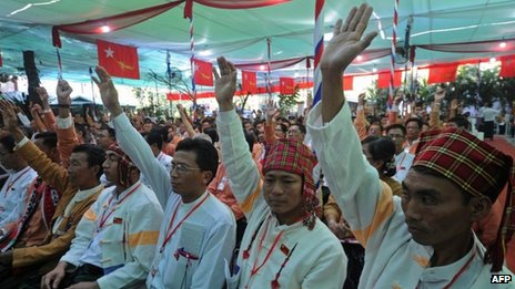 Delegates of National League for Democracy (NLD) vote during the first- ever party conference at the Royal Rose Hall in Rangoon, Burma on 9 March 2013