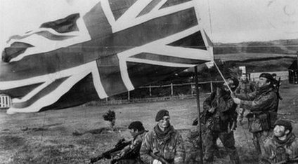 Union Jack flag with British soldiers, 1982