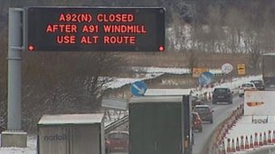 A92 closure sign