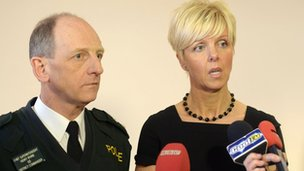 Detective Chief Inspector Karen Baxter and Chief Superintendent Henry Irvine speak to the media at Newtonabbey Police station