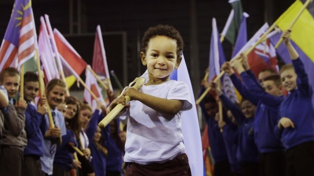 Two-year-old Otis Bazie during the unveiling of the 2014 Commonwealth Games international route for Queen&quot;s Baton Relay at the Emirates Arena in Glasgow. 