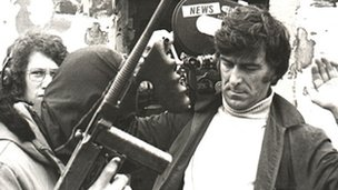 Cameraman Cyril Cave is searched by the IRA, Bogside, Derry, 1972