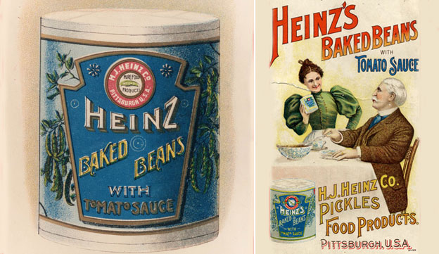 Heinz can from 1895 and an early US advert