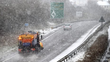 Snow falls on the A20 in Kent