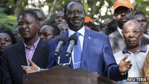 Kenya's Prime Minister Raila Odinga addresses a news conference after Uhuru Kenyatta was declared winner of  presidential elections on 9 March  2013