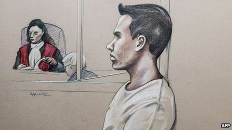 Sketch of Luka Rocco Magnotta as he appears for a preliminary hearing 11 March 2013