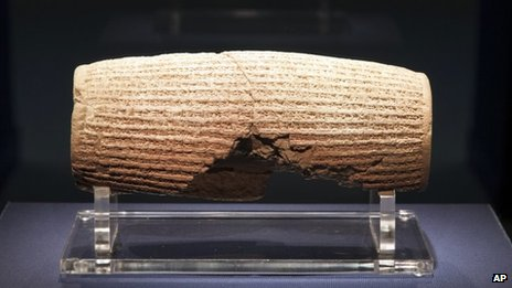 In this image provided by The Smithsonian Institution, the Cyrus Cylinder is seen on display at the Smithsonian&#039;s Freer Sackler Gallery in Washington