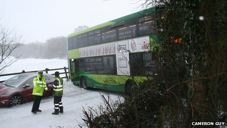 Bus skidded in snow on Isle of Wight