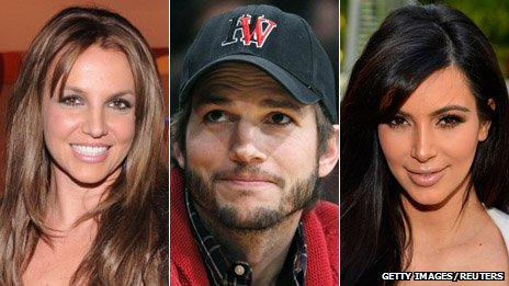 Britney Spears, Ashton Kutcher and Kim Kardashian