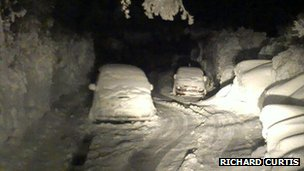 Abandoned cars covered in snow in Guernsey