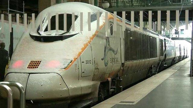 A snowy Eurostar train