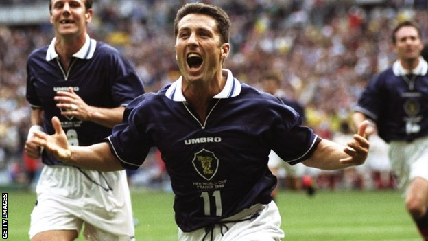 John Collins celebrates his goal for Scotland against Brazil at the 1998 World Cup